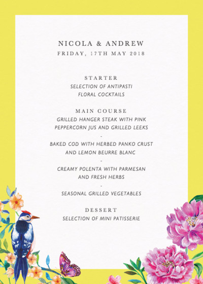 Duchess Garden | Personalised Menu