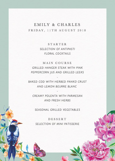 Duchess Garden Mint | Personalised Menu
