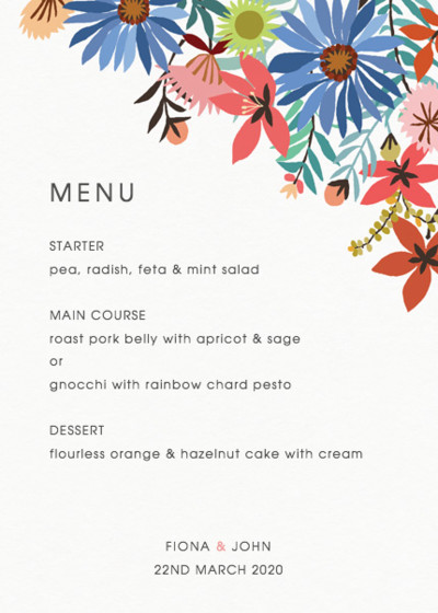 Meadow Flowers | Personalised Menu