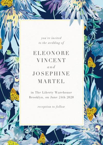 Jungle Bloom Midnight | Personalised Wedding Invitation
