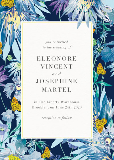 Jungle Bloom Midnight | Personalised Wedding Invitation