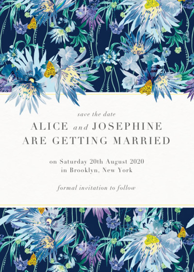 Jungle Bloom Midnight | Personalised Save The Date