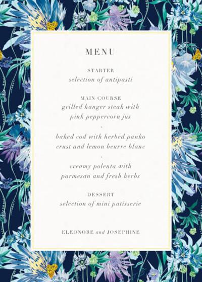 Jungle Bloom Midnight | Personalised Menu