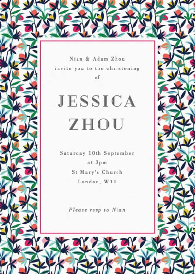 Floral Buds | Personalised Christening Invitation