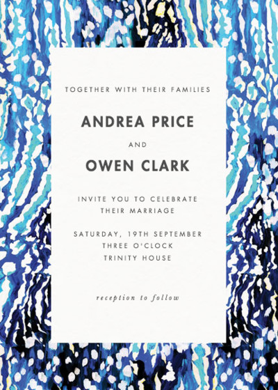 Akita Blue   Personalised Wedding Invitation