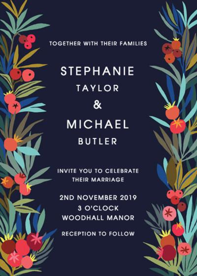 Autumn Berries Blue | Personalised Wedding Invitation