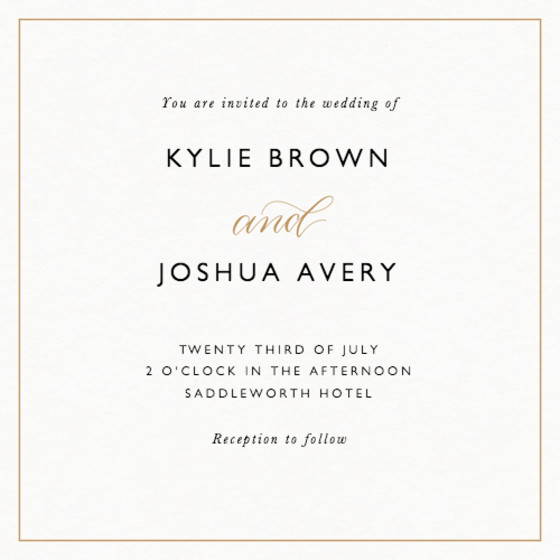 And Calligraphy Gold | Personalised Wedding Invitation