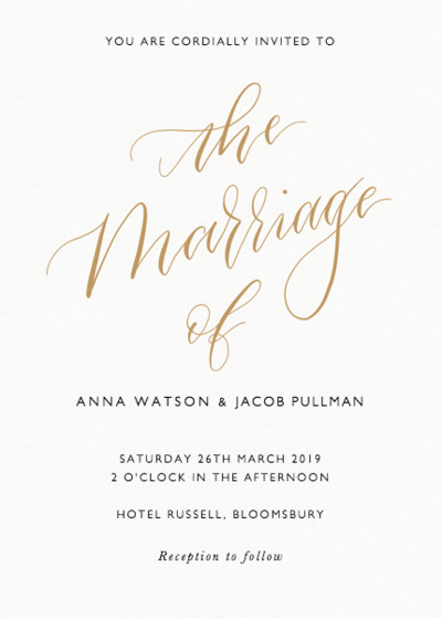 The Marriage Of Calligraphy Gold | Personalised Wedding Invitation