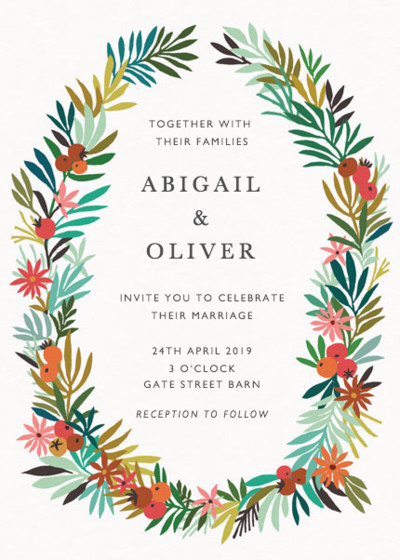Spring Wreath | Personalised Wedding Invitation