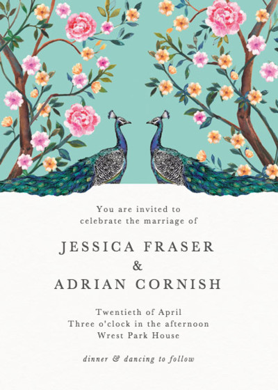 Peacock Garden | Personalised Wedding Invitation