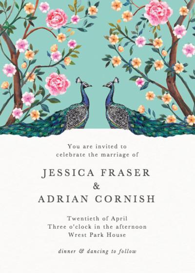 Peacock Garden | Personalised Wedding Invitation