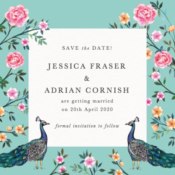 Peacock Garden | Personalised Save The Date