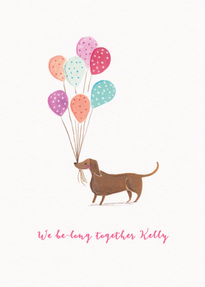 Dachshund With Balloons | Personalised Greeting Card