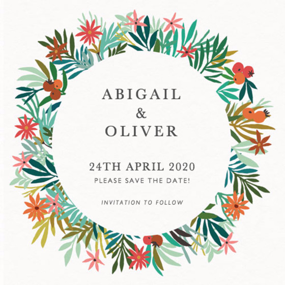 Spring Wreath | Personalised Save The Date