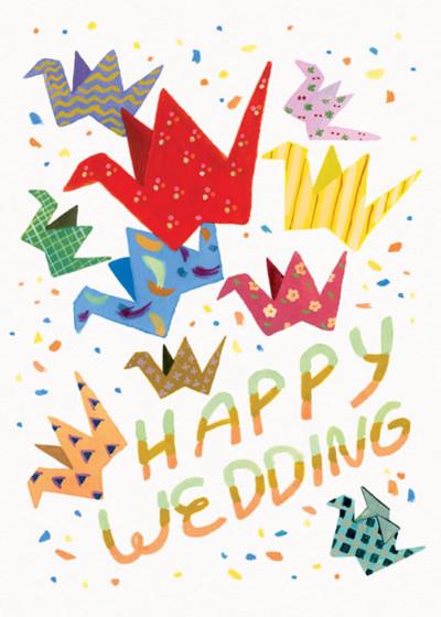 Wedding Cranes | Personalised Congratulations Card