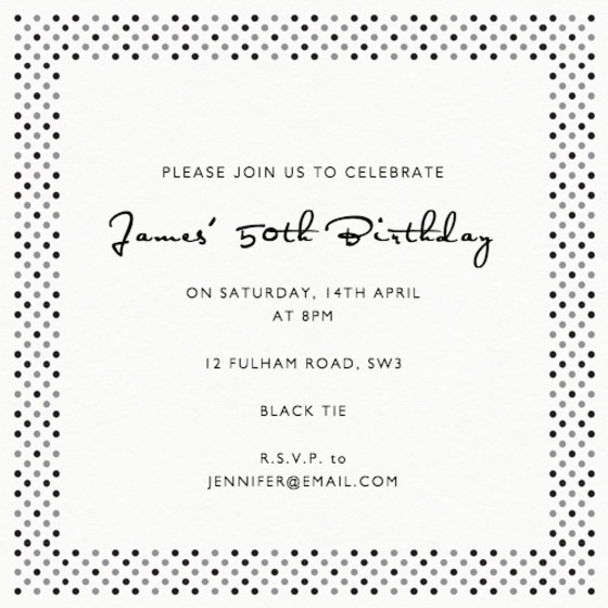 Dotty Black | Personalised Party Invitation