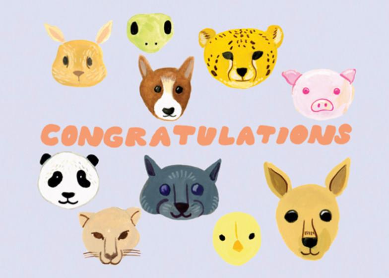 Baby Animals | Personalised Congratulations Card
