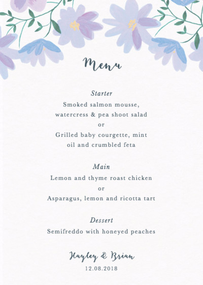 Dusky Ramblers | Personalised Menu