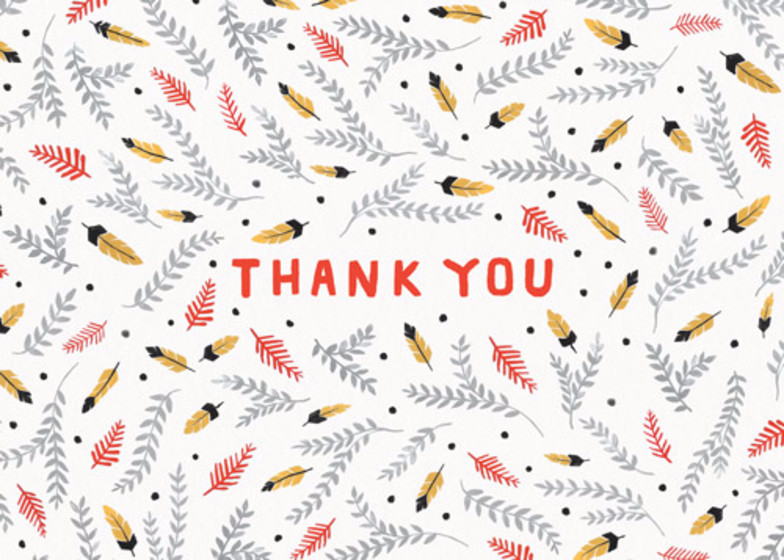 Thank You Feathers | Personalised Thank You Card