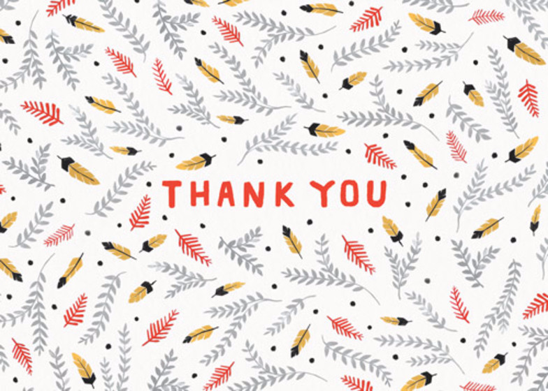 Thank You Feathers | Personalised Thank You Card Set