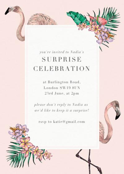 Flamingo Bay   Personalised Party Invitation