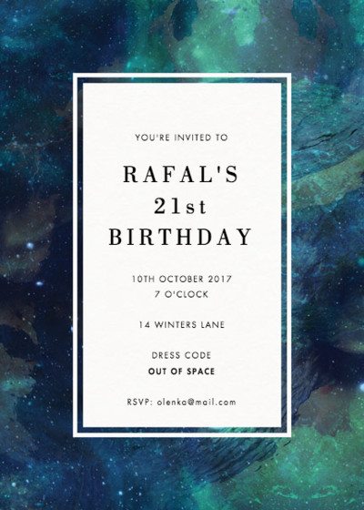 Patina Galaxy | Personalised Party Invitation