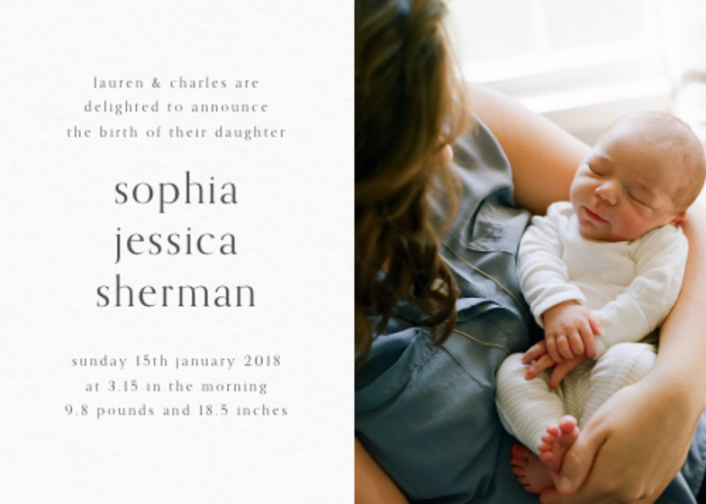 Split Screen Photo | Personalised Birth Announcement