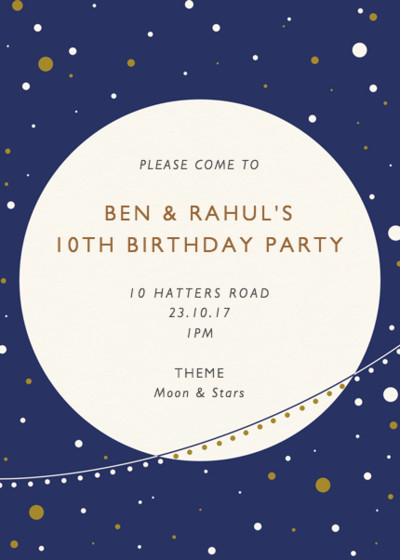 Moon And Stars | Personalised Party Invitation