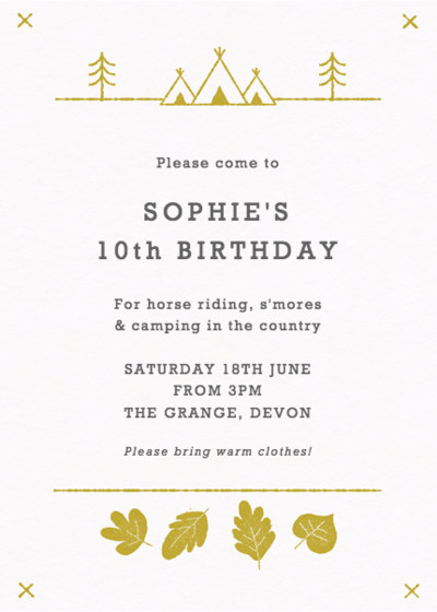 Summer Camp | Personalised Party Invitation