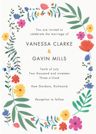 Bright Wild Flowers | Personalised Wedding Invitation
