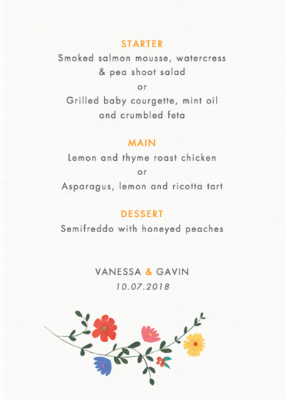 Bright Wild Flowers | Personalised Menu