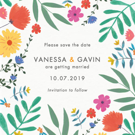 Bright Wild Flowers | Personalised Save The Date