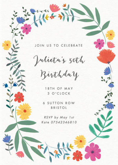 Bright Wild Flowers   Personalised Party Invitation