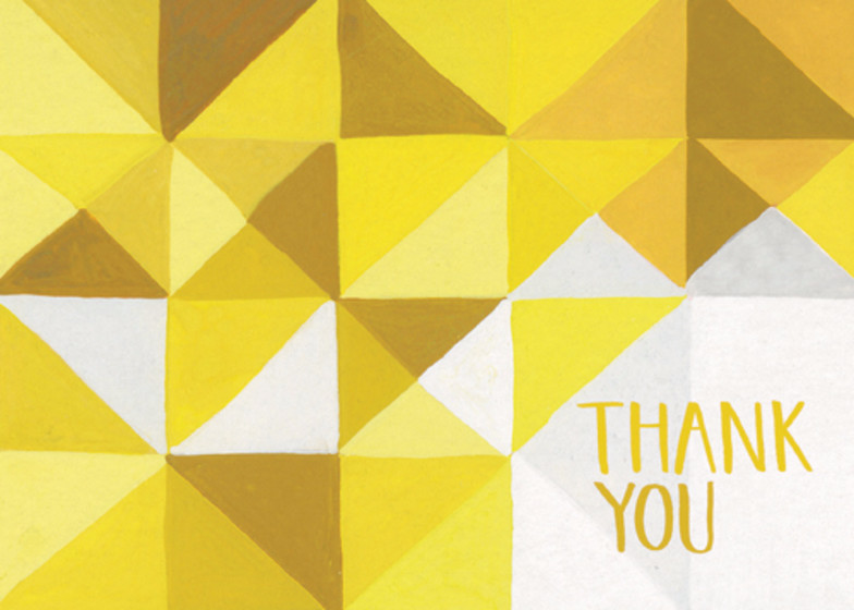 Yellow Geometric | Personalised Thank You Card Set