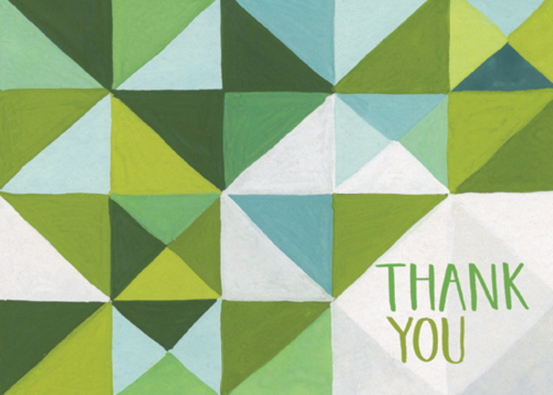 Green Geometric | Personalised Thank You Card Set