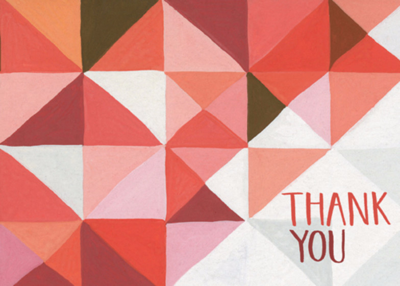 Coral Geometric | Personalised Thank You Card Set