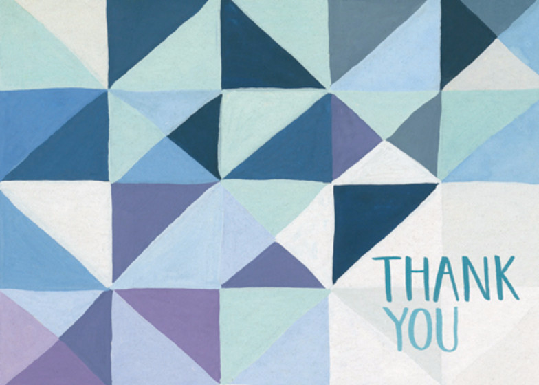 Blue Geometric | Personalised Thank You Card Set