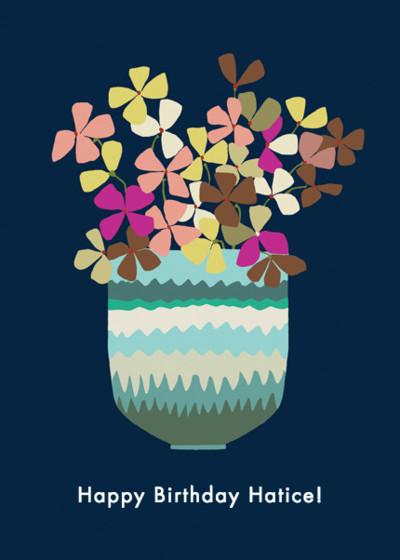 Hydrangea Vase | Personalised Birthday Card