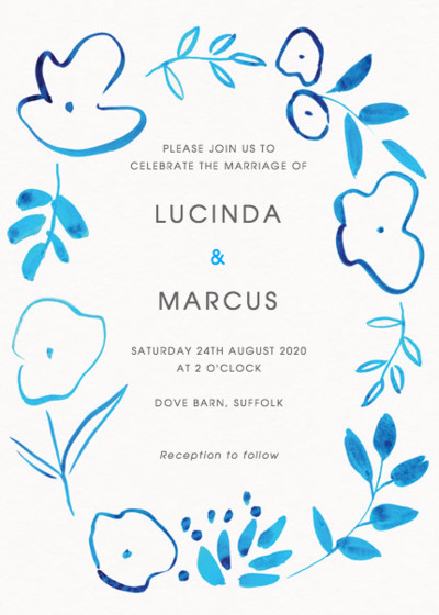 Inky Florals | Personalised Wedding Invitation