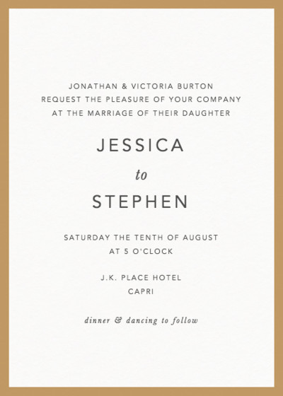 Gold Border | Personalised Wedding Invitation