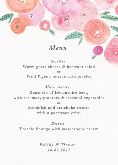 Spring Ranunculus | Personalised Menu