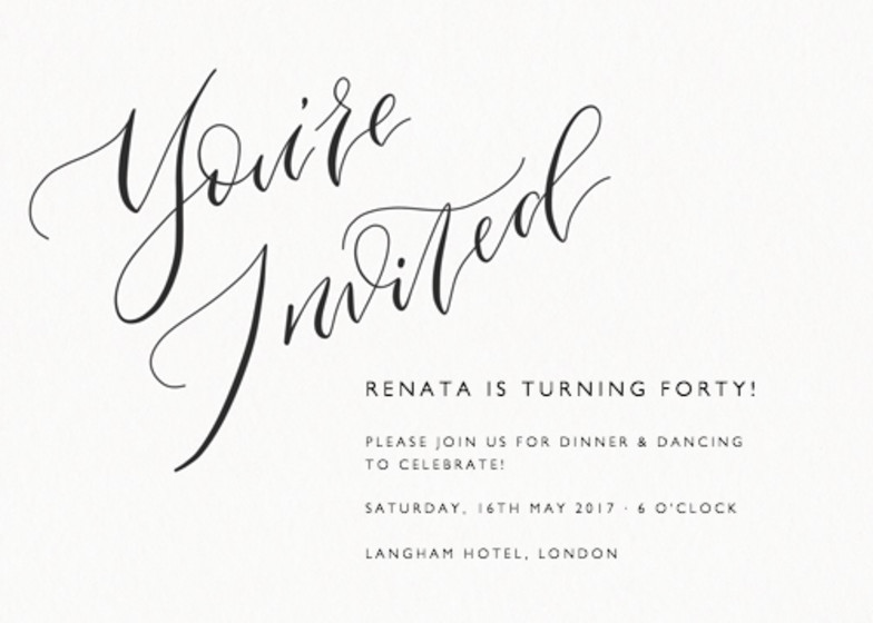 You're Invited Calligrafia | Personalised Party Invitation