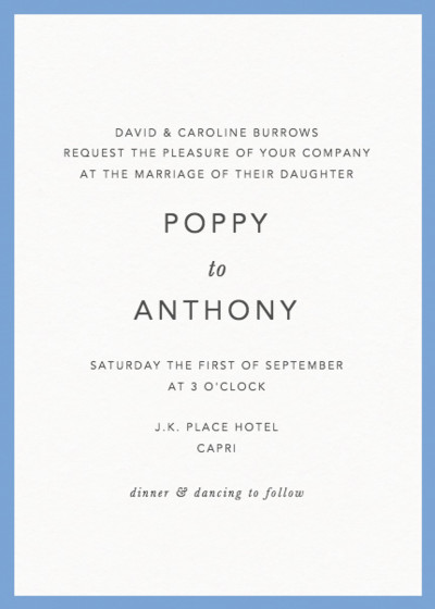 Cornflower Blue Border | Personalised Wedding Invitation