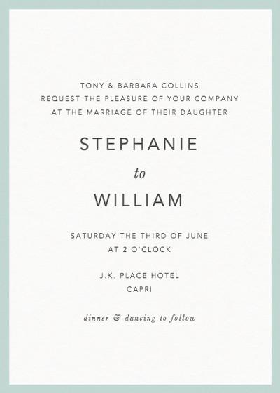 Mint Border | Personalised Wedding Invitation