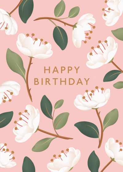 Magnolia Birthday Blush | Personalised Birthday Card