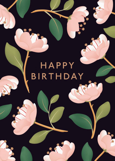 Magnolia Birthday Black | Personalised Birthday Card