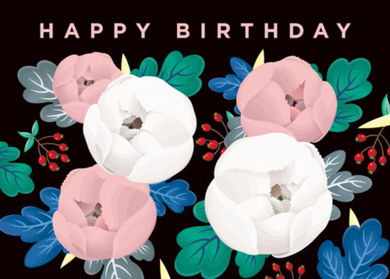 Birthday Peonies | Personalised Birthday Card