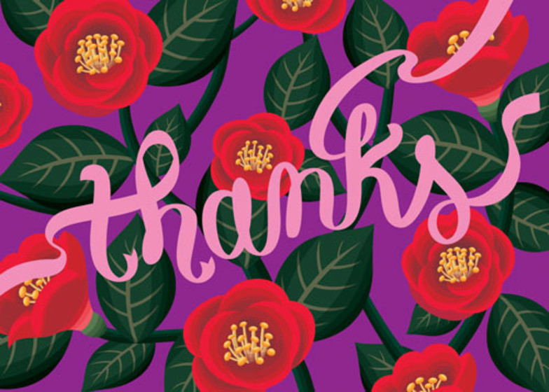 Red Camellias | Personalised Thank You Card
