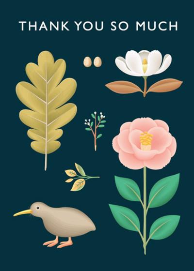 Kiwi Botanical | Personalised Thank You Card Set