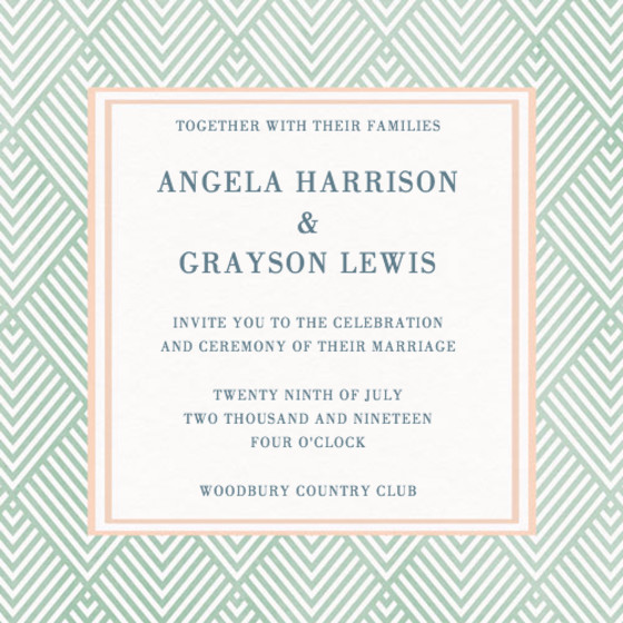 Green Diamonds | Personalised Wedding Invitation